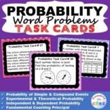PROBABILITY Word Problems - Task Cards {40 Cards}