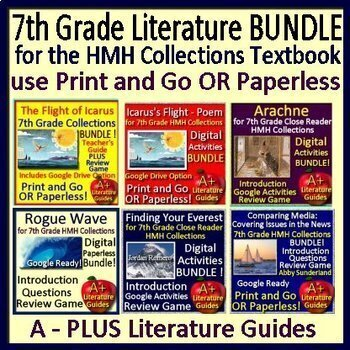 7th Grade Literature Bundle HMH Collections Using the Textbook Google Ready