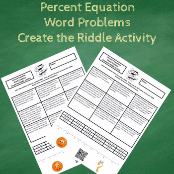 7th Grade Percent Equation Word Problems Create the Riddle Activity