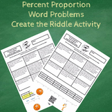 7th Grade Percent Proportion Word Problems Create the Riddle Activity