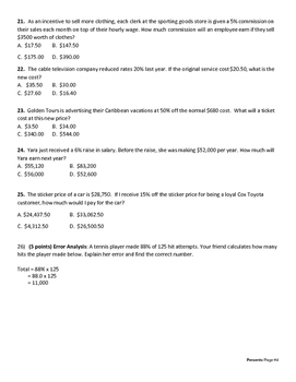 7th Grade Percent Test with Standards