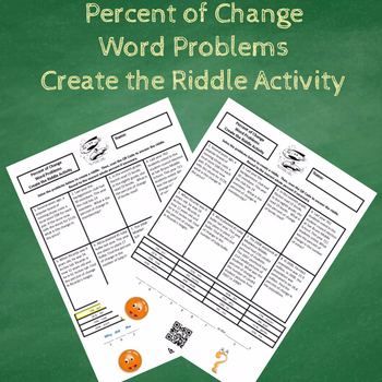 7th Grade Percent of Change Word Problems Create the Riddle Activity