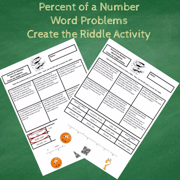 7th Grade Percent of a Number Word Problems Create the Riddle Activity