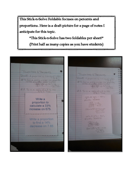 7th Grade Percents and Proportions Lesson: FOLDABLE & Homework