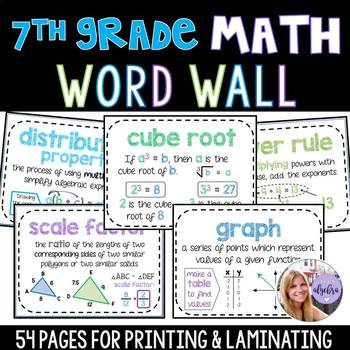 7th Grade - Pre-Algebra Middle School Math Word Wall 49 Posters - Growing Set