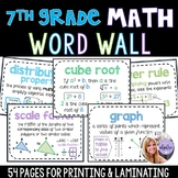7th Grade - Pre-Algebra Middle School Math Word Wall 54 Posters