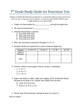 7th Grade (Pre-Algebra) Study Guide for Functions Test