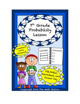 7th Grade Probability Lesson: FOLDABLE & Homework