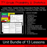 7th Grade - Probability and Statistics Bundle - 13 Lessons with 429 Pages