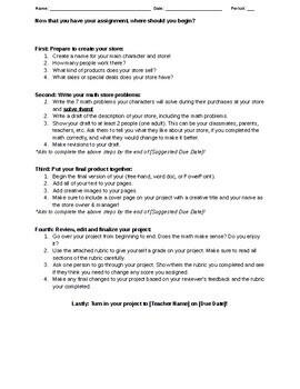 7th Grade Project: Math Store