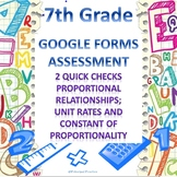 7th Grade Proportional Relationships 2 Quick Checks Google Forms Assessments