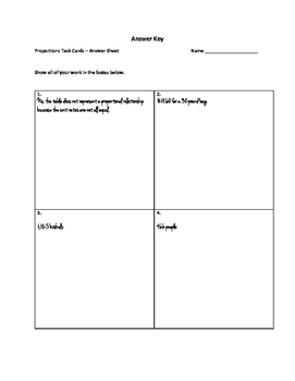 7th Grade: Quick Proportions Task Cards