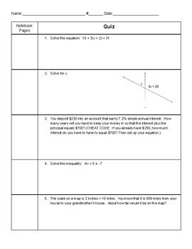 7th Grade Math Quiz
