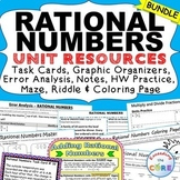 RATIONAL NUMBERS BUNDLE Task Cards, Error Analysis, Problem Solving, HW, Notes