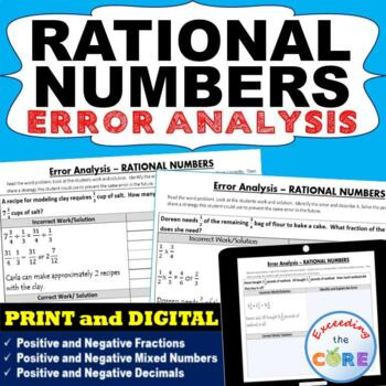 RATIONAL NUMBERS (Fractions and Decimals) Error Analysis (Find the Error)