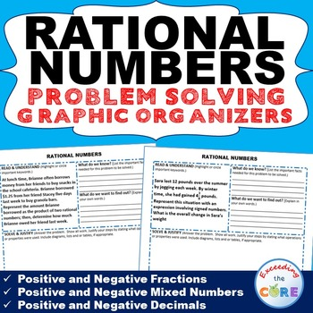 RATIONAL NUMBERS (Fractions & Decimals) Word Problem Graphic Organizer