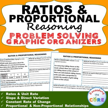 RATIOS and PROPORTIONAL REASONING Word Problems with Graphic Organizer