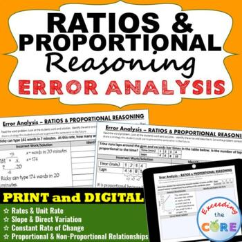 RATIOS & PROPORTIONAL REASONING Word Problems  Error Analy
