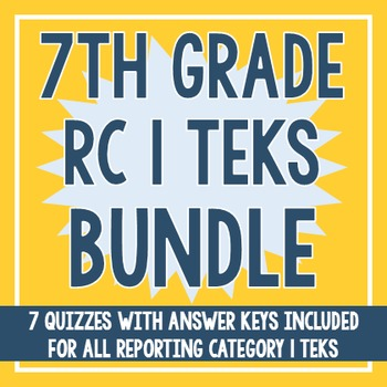 7th Grade RC 1 TEKS BUNDLE! (All RC 1 TEKS)