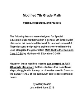 7th Grade Math Ch 1 RP Modified Lessons 1-9