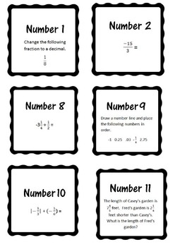 7th Grade Rational Numbers 30 questions - converting and all operations
