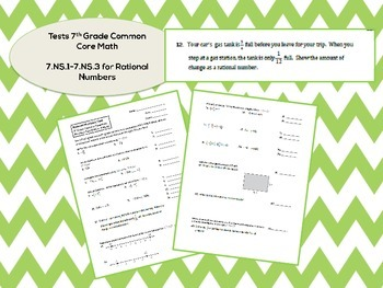 7th Grade Rational Numbers Test for Common Core (7.NS.1-7.NS.3)