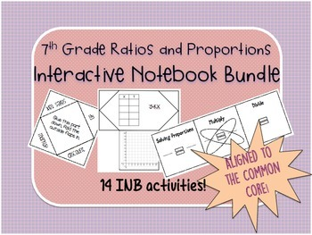 7th Grade Ratios, Percents, and Proportions Interactive Notebook Bundle