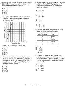 7th Grade Common Core Ratios and Proportional Relationships Unit Test