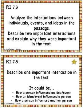 7th Grade Reading Comprehension Common Core Task Cards