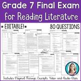 7th Grade Reading Final Exam | Reading Literature Final Assessment for Grade 7