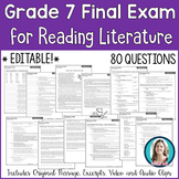 7th Grade Reading Final Exam | Reading Literature Final As