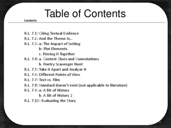 7th Grade Reading Literature Activities for All Standards