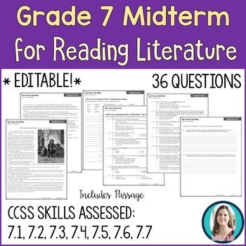 7th Grade Reading Midterm Exam | Reading Literature Midterm for Grade 7