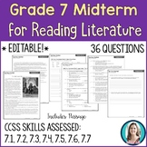 7th Grade Reading Midterm Exam | Reading Literature Midter