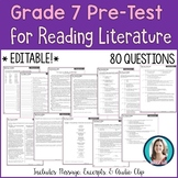 7th Grade Reading Pre-Test | Reading Literature Pre-Assess