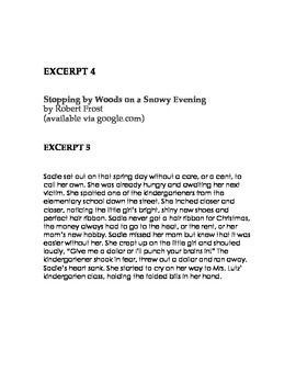 7th Grade Reading STAAR Genre Review Excerpts (handout for students)