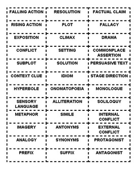 7th Grade Reading STAAR Vocabulary Review Flash Cards