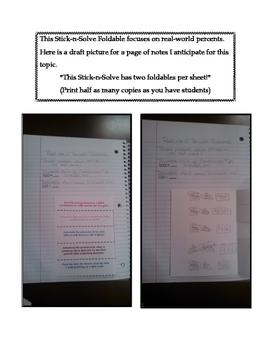 7th Grade Real-World Percents Lesson: FOLDABLE & Homework