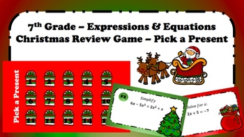 7th Grade Review: Expressions & Equations (Pick a Present - Christmas Game)