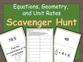 7th Grade Review on Equations, Geometry and Unit Rates Scavenger Hunt