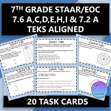7th Grade STAAR EOC TEKS Aligned Task Cards 7.6 A,C,D,E,H,I & 7.2A