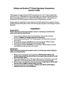 7th Grade STAAR Expository Editing and Revision Practice Papers