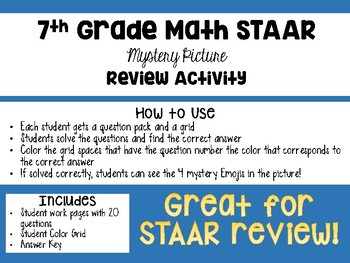 7th Grade STAAR Math Mystery Picture REVIEW Activity