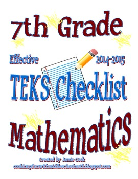 7th Grade STAAR Math TEKS Checklist (NEW and old TEKS bundled)