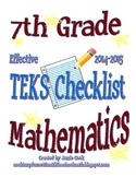 7th Grade STAAR Math TEKS Checklist (with new TEKS effecti