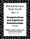 7th Grade STAAR Math Task Cards -Set 2 -Computations and Algebraic Relationships
