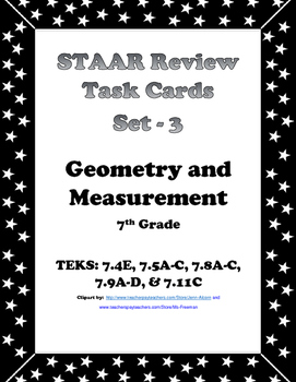 7th Grade STAAR Math Task Cards -Set 3- Geometry and Measurement