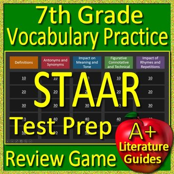 7th Grade STAAR Test Prep Reading Vocabulary Practice Game Reading Review