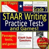 7th Grade STAAR Writing Practice Tests and Games Bundle! Passages and Questions