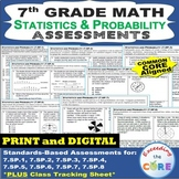 7th Grade STATISTICS & PROBABILITY Assessments (7.SP) Common Core
